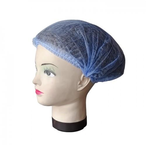Универсално синьо боне от нетъкан текстил, 42 см - 100 броя