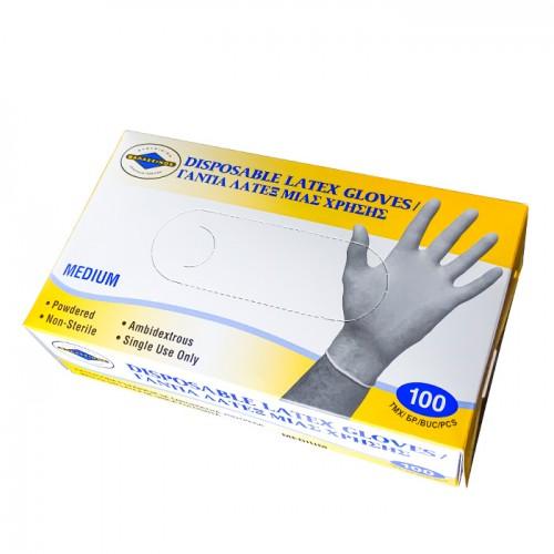 Еднократни латексови ръкавици в бял цвят, 100 броя