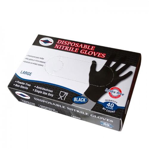 Еднократни нитрилни ръкавици в черен цвят, 40 броя