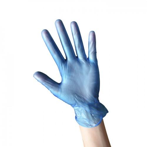 Кутия със 100 броя еднократни сини ръкавици от нитрил