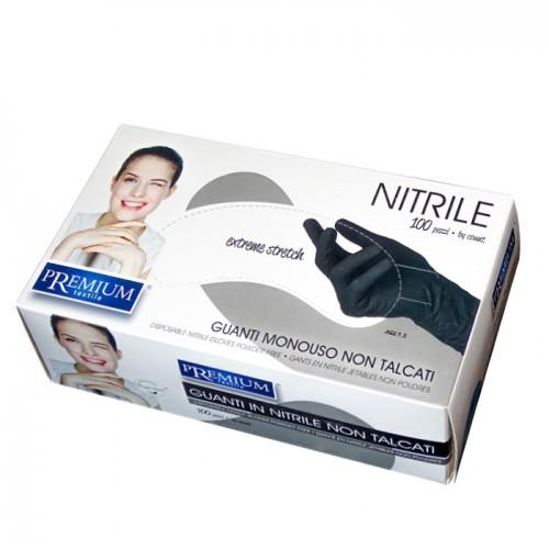 Еднократни нитрилови ръкавици в черен цвят Premium, 100 броя